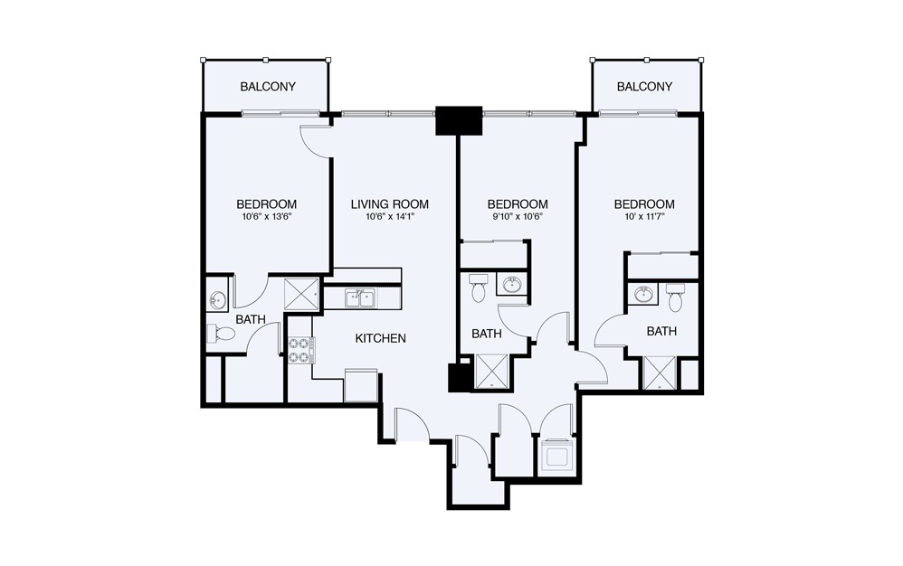 C1 3 Bed 3 Bath Floorplan