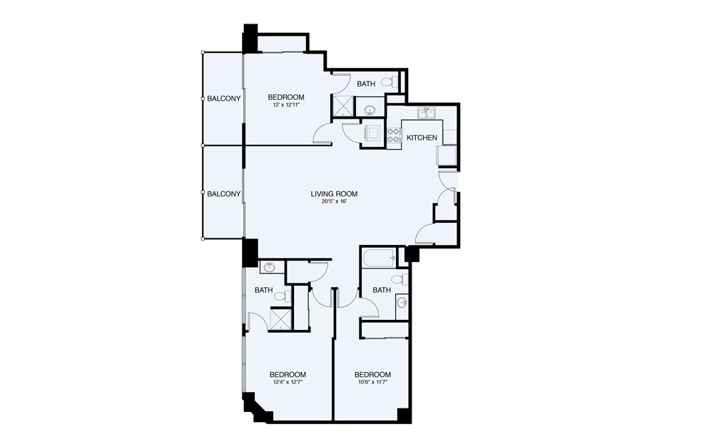 C7 3 bed 2 Bath Floorplan