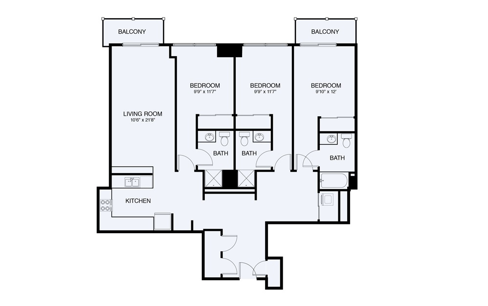 C7 3 bed 2 Bath Floorplan