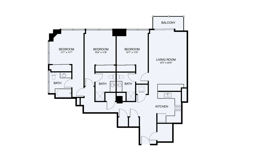 C8 3 bed 2 Bath Floorplan