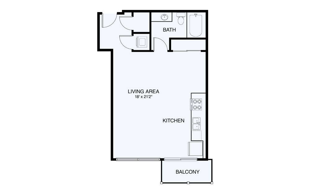 S4 Studio 1 Bath Floorplan