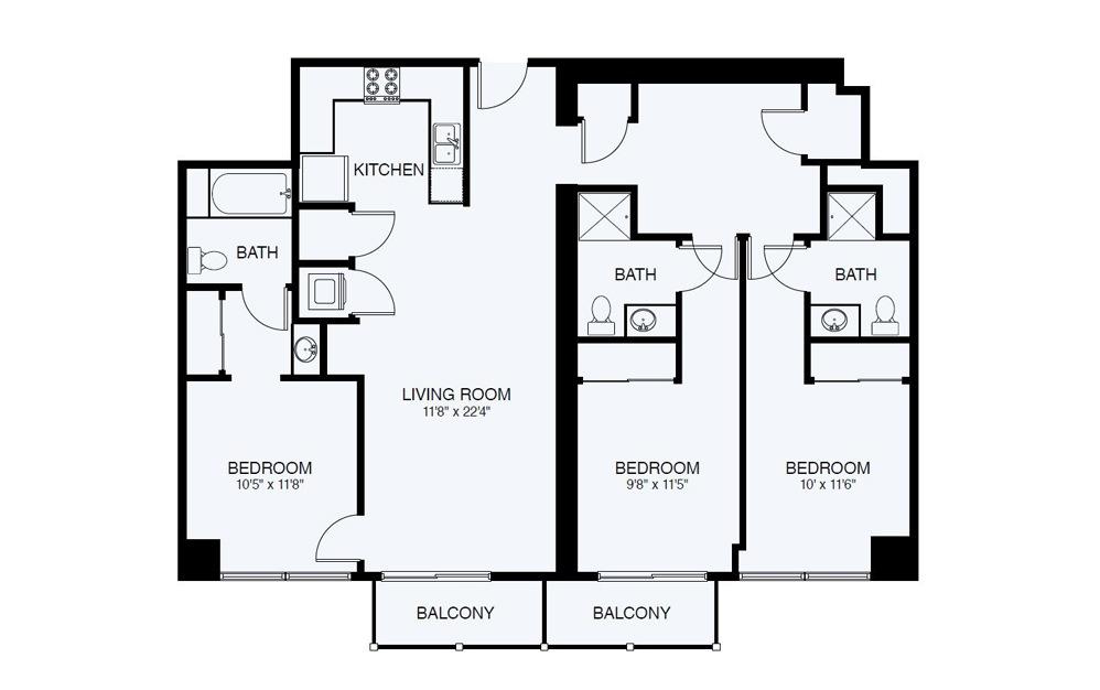 C4  3Bed 3 Bath Floorplan