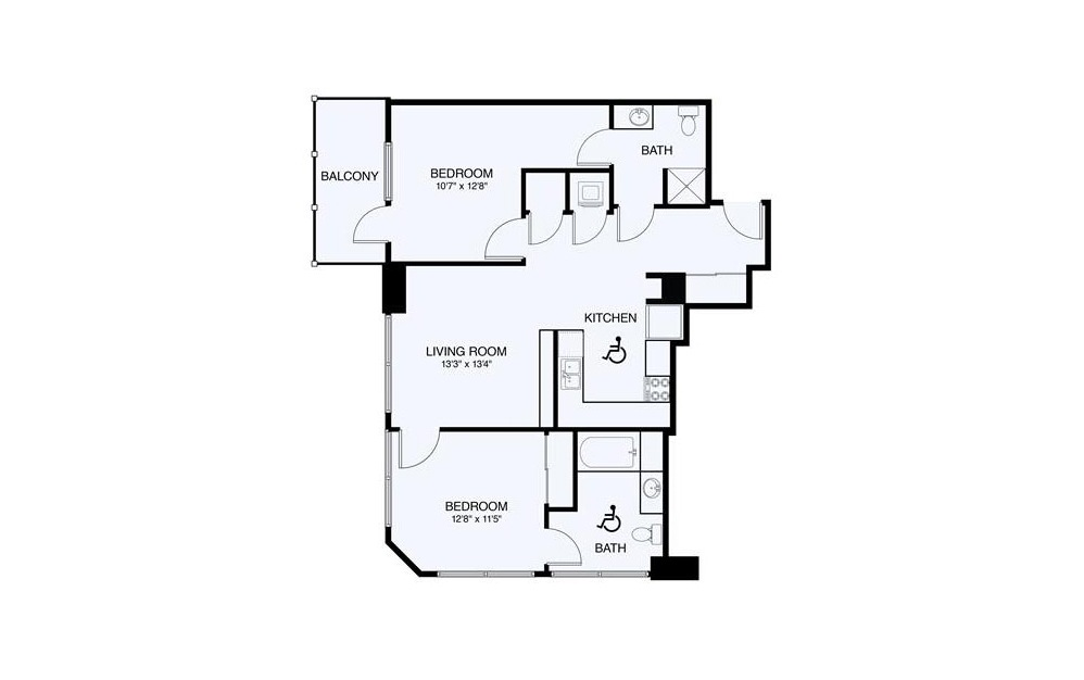 B2-ADA 2 Bed 2 Bath Floorplan