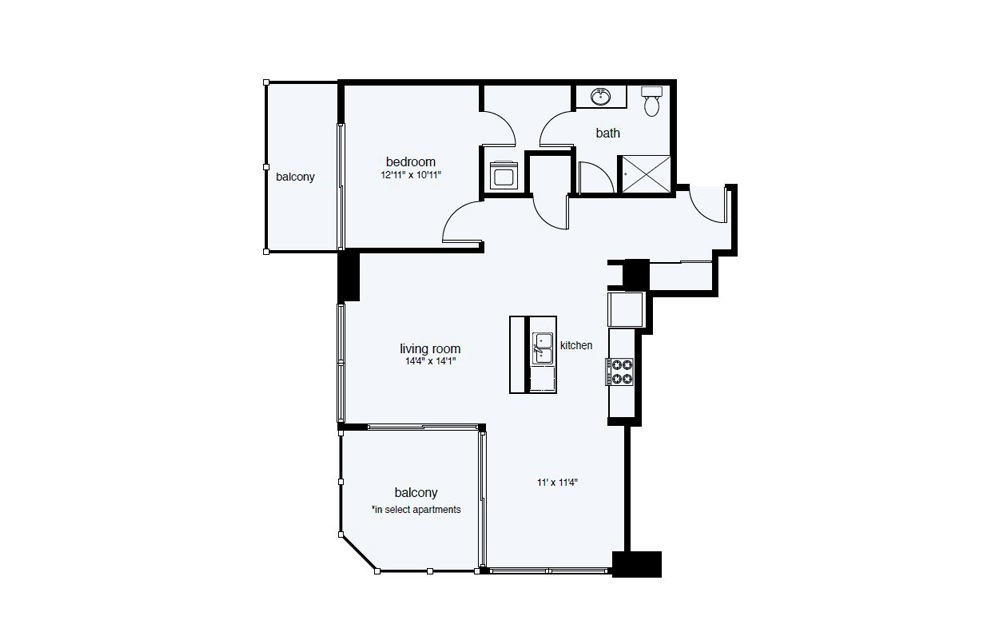 A12 1 Bed 1 Bath Floorplan