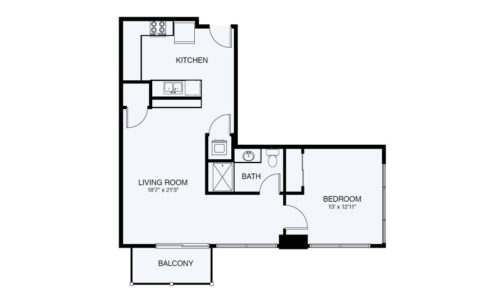 A8 1 Bed 1 Bath Floorplan