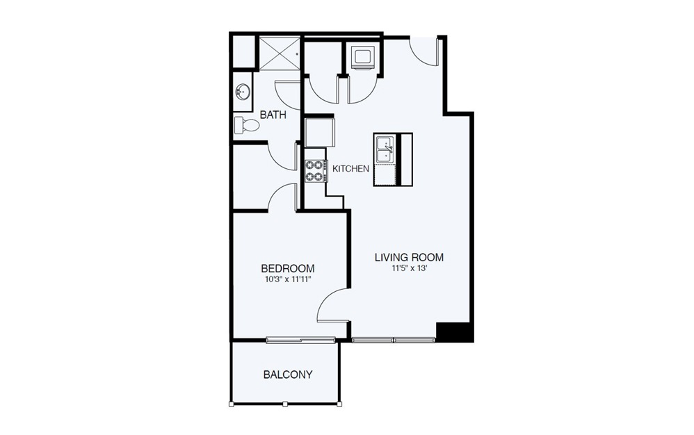 A5-ADA 1 Bed 1 Bath Floorplan